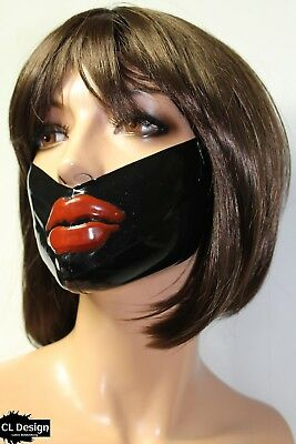 CL Design Latex Halb Maske Unisex Medical Mask Lippen Lips Mund Rubber Gummi Hot