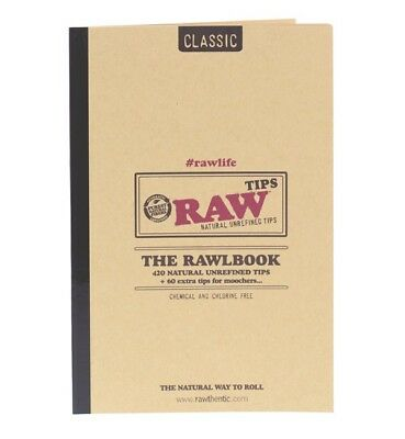 RAW Classic Rawlbook 480 Count Of Natural Unrefined Rolling Tips (NEW)