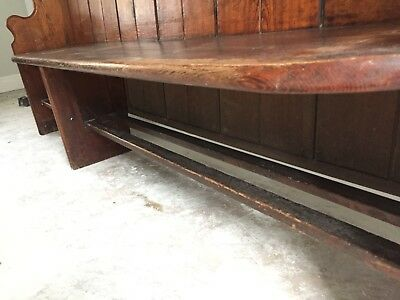 "Antique pitch pine church pew 6'8"" (205cm) long chapel bench"