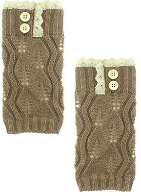 Gloves Mittens Fingerless Knitted Button & Lace -Cute Chic- Text With Ease