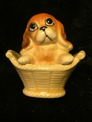 Adorable Vintage Norcrest A698 Cocker Spaniel In A Basket With Sticker