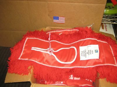 "12 New 5"" x 18"" Red Dry Dust Mop Heads USA Made School Surplus"