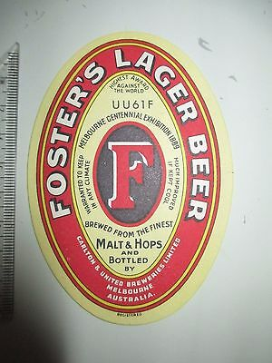 Early Fosters Lager Beer Label (A250)