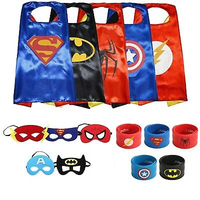 Ecparty Superheros Cape and Mask Costumes Set Matching Wristbands For Kids