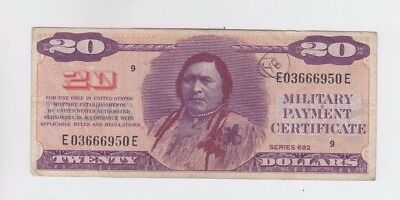 Military Payment Certificate  $20 Indian fine with Ink on front