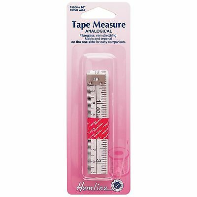 Hemline Tape Measure Analogical Metric & Imperial, Fibreglass Non Stretch, 150cm