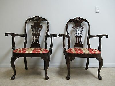 Pair Henredon Rittenhouse Square Mahogany Chippendale Dining Room Arm Chairs
