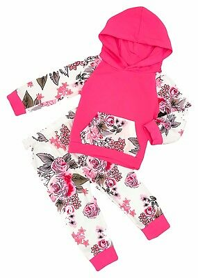 Hot Pink Floral Hoodie and Pant Baby Jogger Boutique Set great Christmas Present