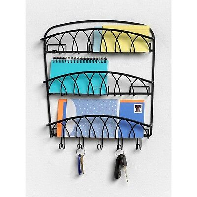 Wall Mounted 3-Tier Letter Holder Organizer with Key Hooks in Black Metal Finish