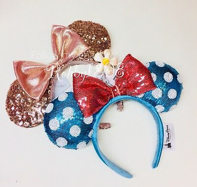 NWT Disney Timeless Blue Polka Dot Daisy & Rose Gold Minnie Mouse Ears Headband