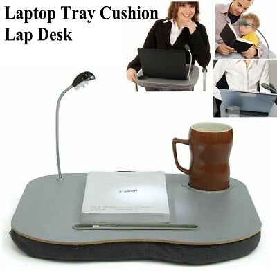 Laptop Cushion Knee Lap Computer Reading Table Tray Cup Holder + 5 LED Light