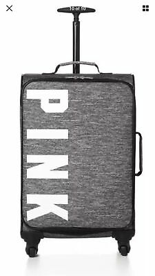 Victorias Secret Pink GRAY MARL GRAPHIC Carry On Wheelie Suitcase Duffle Bag NWT
