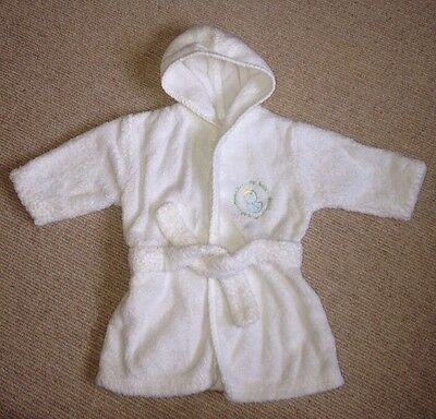 MOTHERCARE Baby Boy White Towelling Robe Dressing Gown, hood, Age:up to 6 Months