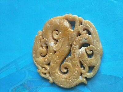 New Chinese Old Handwork Green Jade Carved Dragon Pendant