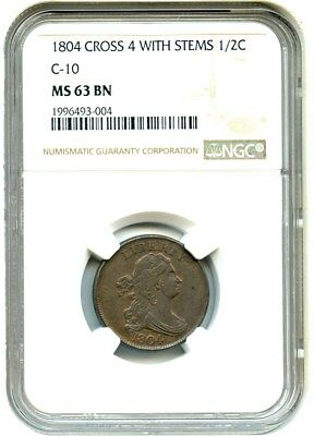 1804 1/2c NGC MS63 BN (Crosslet 4, Stems) Early 19th Century Half Cent