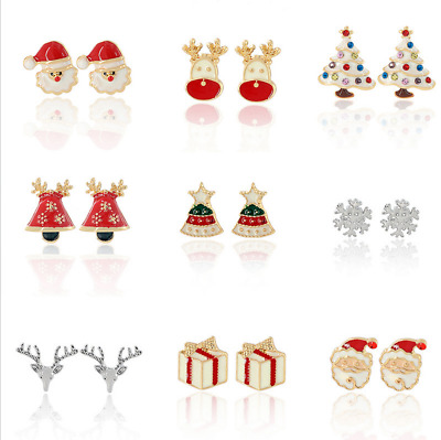 Pair of Stud Earrings Christmas Earrings Santa, Xmas Trees, Snowmen, Rudolph UK