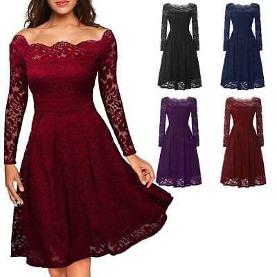UK Womens Vintage Lace Swing Skater Dress Evening Party Cocktail Bridesmaids