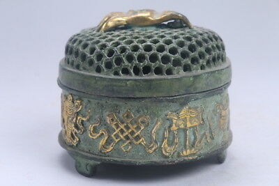 Collection Hand-carved bronze Gold-plated spider Incense burner ac342