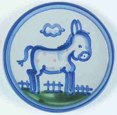 M A Hadley COUNTRY SCENE BLUE Donkey Bread & Butter Plate 5813575