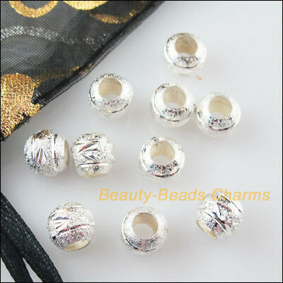 25 New Charms Loose Round Ball Copper Flower Spacer Beads Silver Plated 8mm