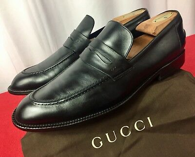 17586a9aa47  680.00 MENS Black Gucci Leather GG Loafers Sz 7 G   8 D US Made In ...