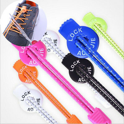 New Colorful Elastic Running Reflective Locking Shoelace With Round Buckle