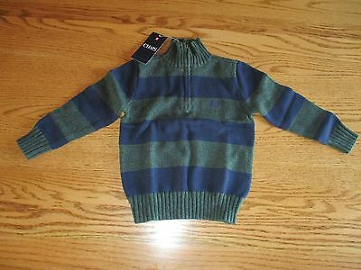 Chaps Boys Quarter Zip Green Blue Striped Sweater 4 5 6 NWT $42