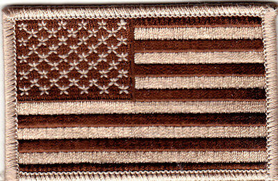 American Flag, Desert Tan - Iron On Embroidered Patch - Military - Biker - Usa