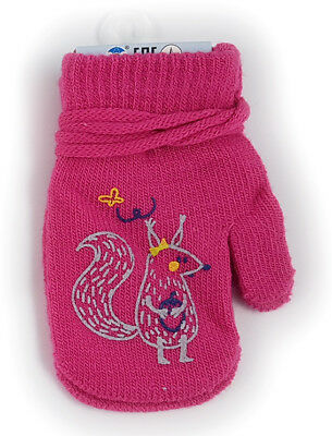 NEW  GIRLS WINTER GLOVES WITH STRiING WARM TODDLERS KIDS CHILDRENS  SIZE 10,12,