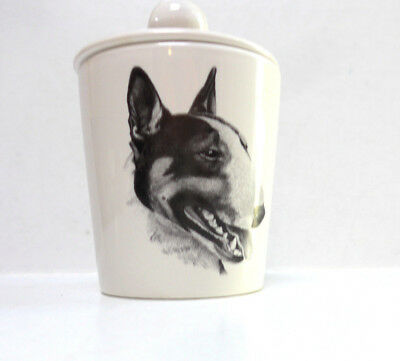Bull Terrier Porcelain Jar Hand-Decorated Lid Rosalinde Monochrome Dogs Bully
