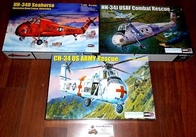 3x Helicopter Hubschrauber CH-34 US ARMY Rescue Seahorse Rescue 1:48 MRC 64103