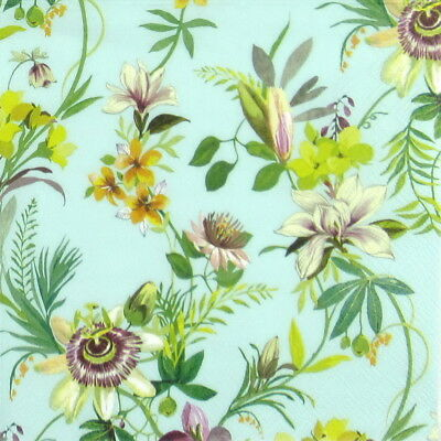 4x Paper Napkins - Flower Beauties Blue- for Party, Decoupage Craft