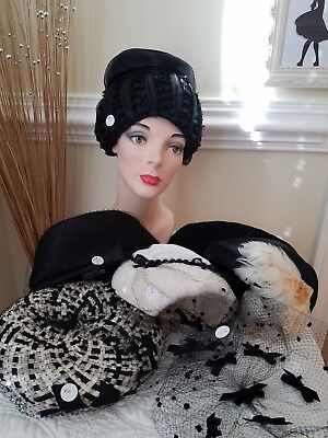 Large Lot of 8 Women's Vintage Black & White Hats/Toppers (A)