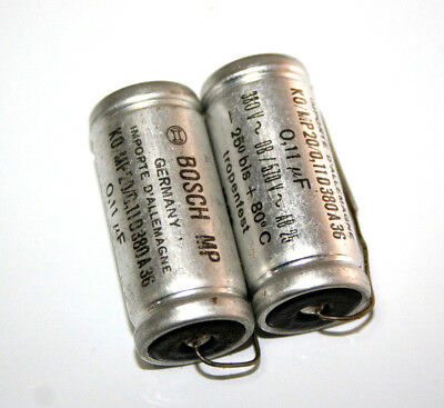 2x BOSCH MP Capacitors 0.11 µF, 380 V for tube amps, made 12.1955, NOS