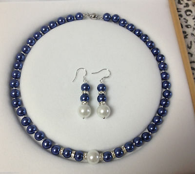 Pretty!8mm Blue South Sea Shell Pearl Necklace Earrings Jewelry Set