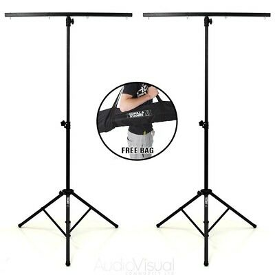 2x Gorilla Stands GLS-100 DJ Disco Heavy Duty Lightweight T-Bar Lighting Stands