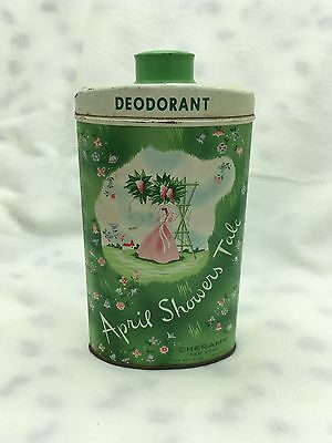 Vintage April Showers Talc Perfumed Powder Deodorant Tin Floral Advertising