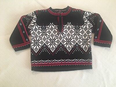 HANNA ANDERSSON Boys Black & White Fair Isle Sweater SZ 80 18-24 Months, Holiday