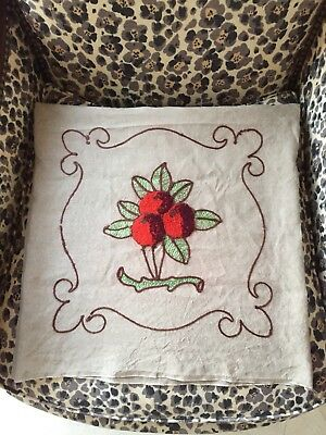 "Vintage 1930's Welsh Cushion Cover Handmade Crewel Embroidery Cherries 17""1/2"