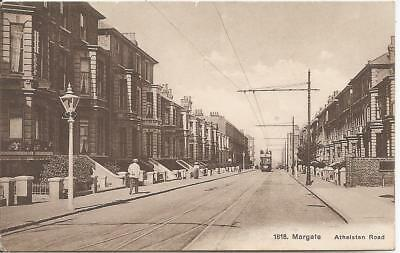 Rare Vintage Animated Postcard Of Athelstan Road,with Tram,margate,kent