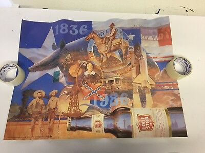 Lone Star Beer Armadillo Cowboy Texas Flag Oil Well