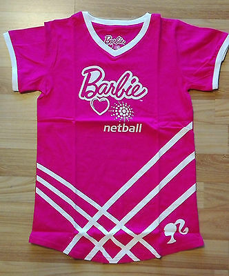 Lot of 2 Barbie Netball Pink Girls Netball Top Uniform Size 8 Brand New