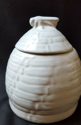 Vintage Frankoma Bee Hive Honey Pot #803 White Sand EUC!