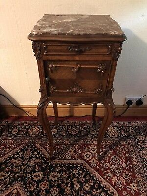 French Rosewood Marble Top Bedside Cabinet Stunning