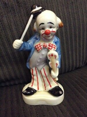 "Homco Porcelain CLOWN Figurine with Violin Fiddle 6"" number 1445"