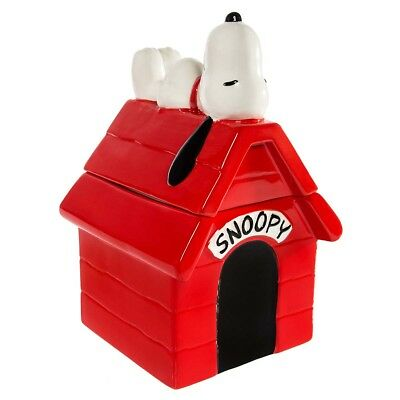 "Gibson Peanuts Snoopy Dog House Large 10.5"" Ceramic Cookie Or Pet Treat Jar"