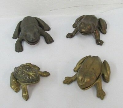 Vintage Brass Frog Hinged Ashtray Or Trinket Box, 4 Lot Ashtrays Metal