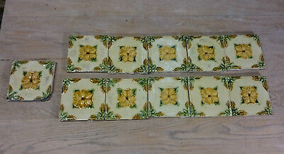 11 VERY PRETTY VICTORIAN FIREPLACE TILES WITH YELLOW FLOWER DESIGN ref 857