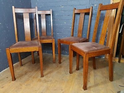 Four Edwardian mahogany Dining Chairs, arts and crafts pad feet