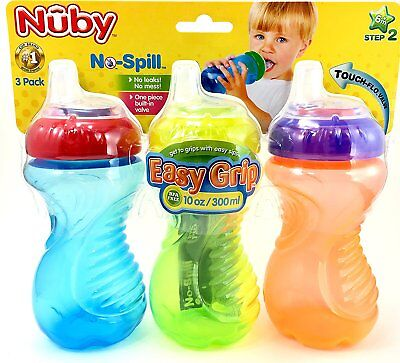 NEW Nuby No Spill Easy Grip 10 Oz Sippy Cups 3 Pack 6+M BPA Free Baby Toddler